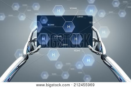 science, future technology and chemistry concept - robot hands with tablet pc and hydrogen chemical formula over gray background