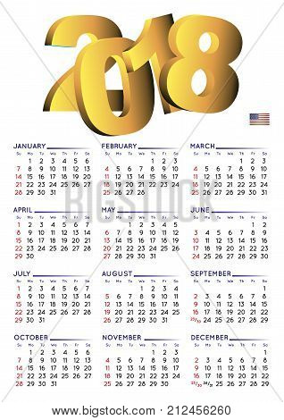 2018 Calendar English Vertical Usa