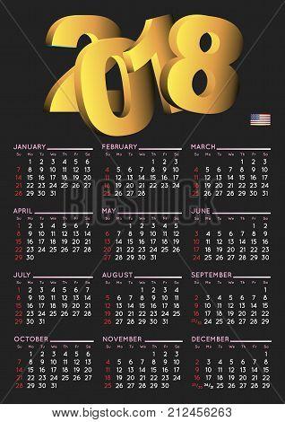 2018 Calendar English Vertical Usa Black