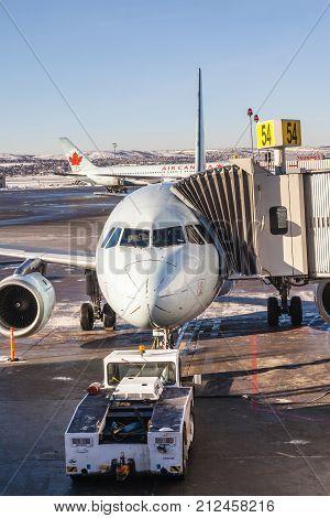 Air Canada Plane On Calgary Airport Tarmac
