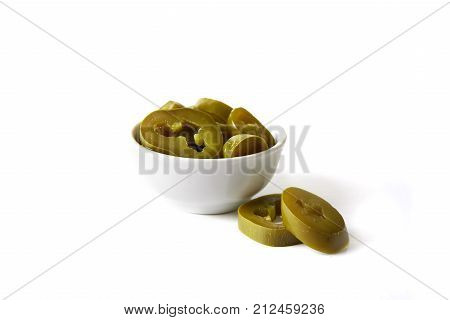 bowl with pickles jalapenos isolated on white background