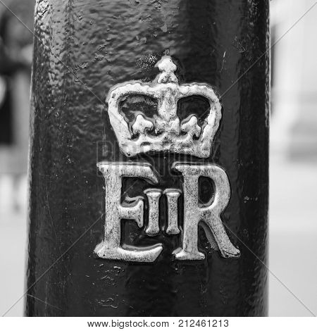 Royal Cypher Of The Queen In London Black And White