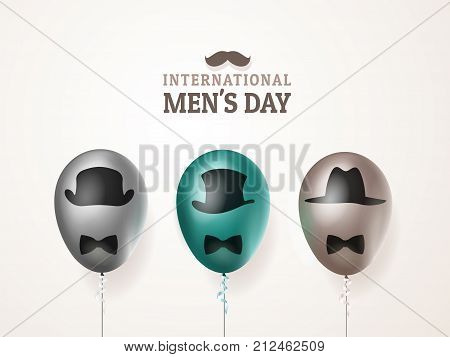 International men's day or Father's Day vector greeting card. Realistic balloons black, green, brown with mustache and hats on light background. For your design, layout. 3d illustrations