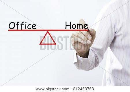 Businessman hand drawing Office and Home Work-Life balance concept.