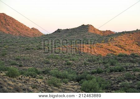 Evening image of mountains of the Sonoran Desert.
