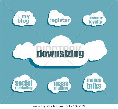 Text Downsizing. Business Concept . Design With Abstract Speech Bubble Set
