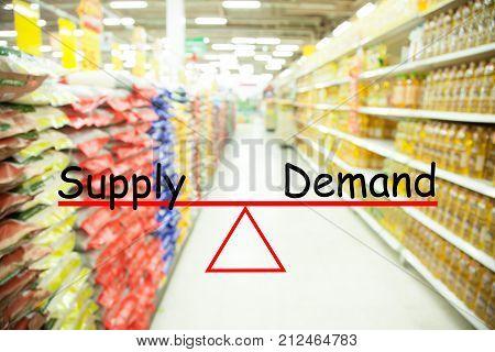 demand and supply concept Supermarket blur background