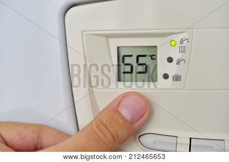 Setting the central heating level in gas furnace panel
