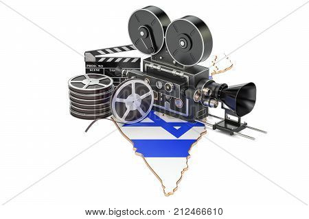 Israeli cinematography film industry concept. 3D rendering isolated on white background