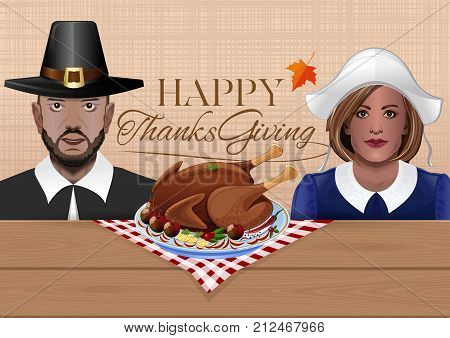 Thanksgiving card with the couple in national costumes of the first settlers and festive turkey. Thanksgiving character. Pilgrims man and woman. Vector illustration
