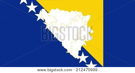 Map And Flag Of Bosnia And Herzegovina.