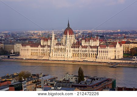Budapest the building of the Hungarian Parliament