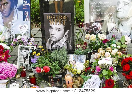 BAD NAUHEIM GERMANY AUGUST 2017: Fan gifts in memory of Elvis Presley. 16 th European Elvis Festival