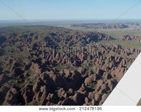 Aerial view of the Bungle Bungle Range in the Kimberleys in Western Australia