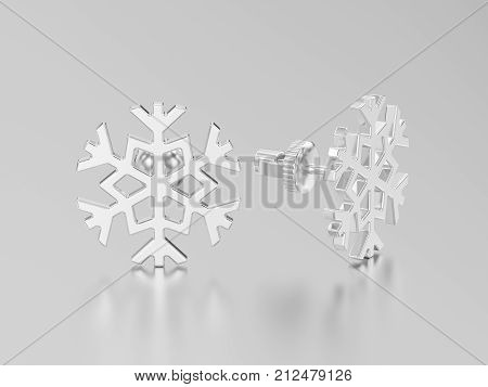 3D illustration white gold or silver snowflake stud earrings on a grey background