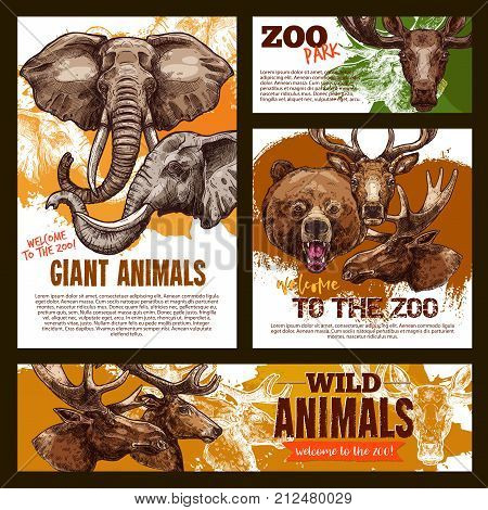 Wild African and giant animals zoo poster and banner sketch template. Vector elephant, grizzly bear or elk and deer or reindeer in outdoor nature for safari adventure or welcome to zoo design