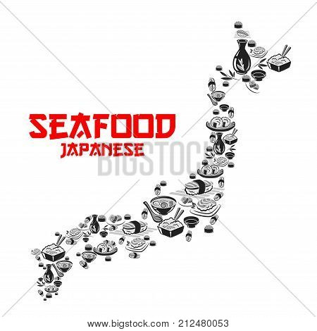 Japanese seafood cuisine or sushi bar icon template in shape of Japan map. Vector design of sashimi and sushi rolls, salmon fish and shrimp, rice and ramen noodles or chopsticks for Asian restaurant
