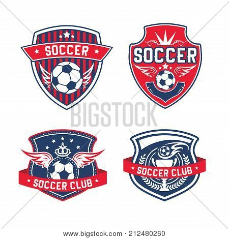 Soccer club heraldic shield icon for football team of college fan league. Vector soccer ball, victory laurel wreath and crown and winner wings for football tournament or championship design template