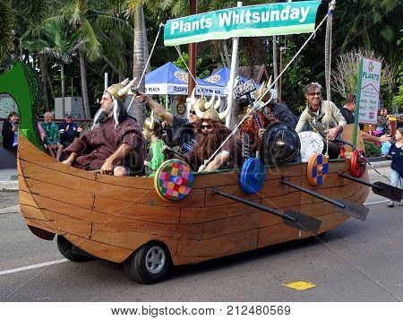 Airlie Beach, Queensland, Australia-August 6, 2016:  People enjoying a float in a Reef Festival Parade in the Whitsundays in Australia
