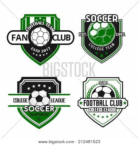 Soccer fan club or football sport game team heraldic icon templates. Vector set of football ball, winner cup laurel wreath and stars on green shield badge for soccer championship college league