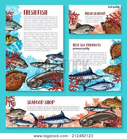 Fish poster or banner sketch design template for fisher market or fishing sport shop. Vector fresh marlin, trout or flounder and salmon, eel or tuna and mackerel with anchovy and sheatfish fishes