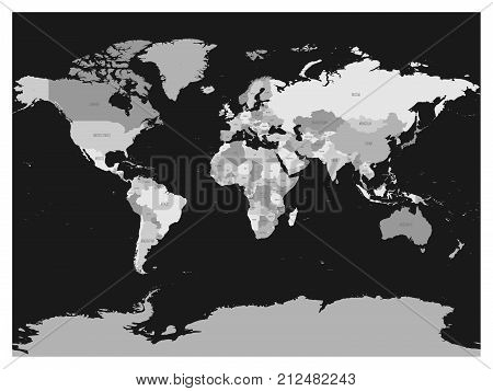 Vector y foto world map four shades grey on dark bigstock world map in four shades of grey on dark background high detail blank political map gumiabroncs Choice Image