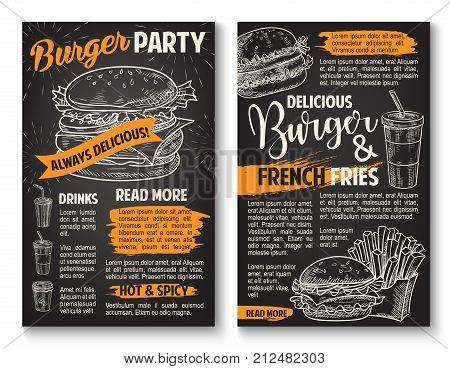 Fast food burgers sketch posters for fastfood restaurant menu. Vector cheeseburger or hamburger sandwich, soda or coffee drink and french fries snack for cinema bar or fastfood bistro design template
