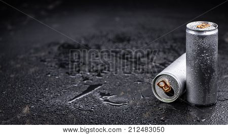 Rustic Slate Slab With Energy Drinks, Selective Focus