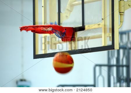 A motion of basketball swishing through the hoop poster