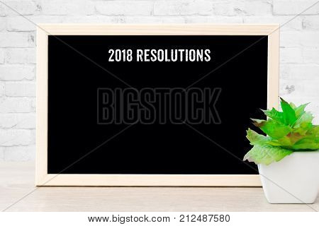 2018 resolutions on blank chalkboard background copy space for text personal new year anual plan background