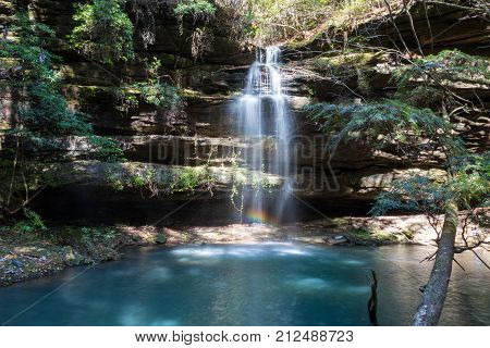 Shangri la waterfall in bankhead national forest in alabama in autumn