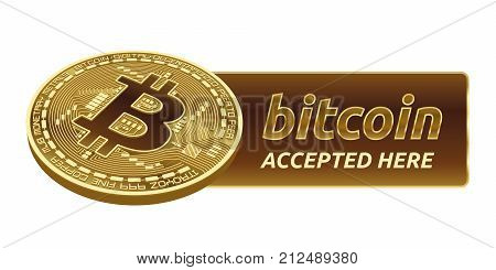 Bitcoin. 3D isometric Physical bit coin. Digital currency. Cryptocurrency. Golden coin with bitcoin symbol isolated on white background. Stock vector illustration