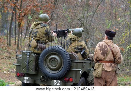 Liberation of Kiev from nazis reenactment.An unidentified persons wear historical Soviet uniform . At October 5,2017 in Kiev, Ukraine