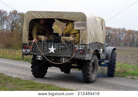 Liberation of Kiev from nazis reenactment.WWII military transport . At October 5,2017 in Kiev, Ukraine