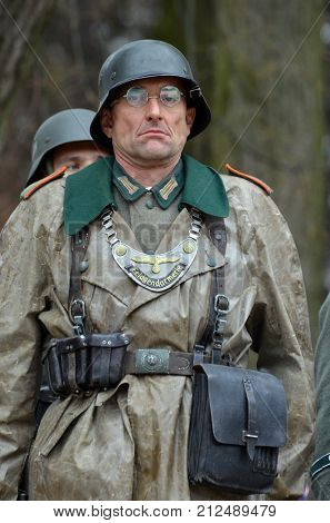 Liberation of Kiev from nazis reenactment.An unidentified person wears historical German uniform . At October 5,2017 in Kiev, Ukraine