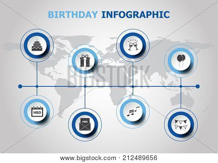 Infographic design with birthday icons, stock vector