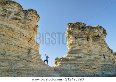 hiking rock formation at Castle Rocks in western Kansas