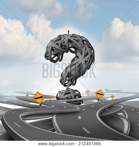 Direction confusion question as a person standing on a group of tangled streets shaped as a question mark as a business or life metaphor for finding answers with 3D render elements.