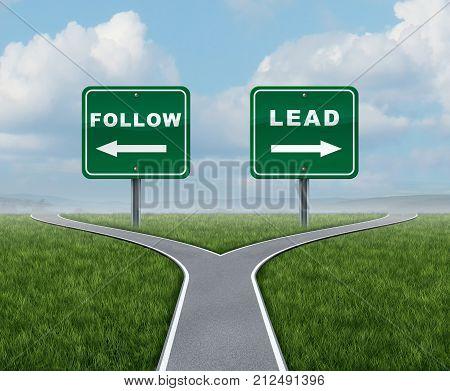 Follow lead choice as a business concept choosing between being a leader or follower with 3d render elements.