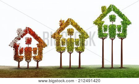 Real estate rise and housing market recovery industry growth or home renovation contruction concept with 3D illustration elements.