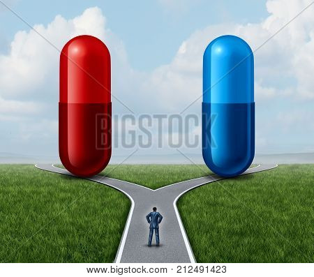 Red and blue pill choice as a person at a  double road looking at medication capsules as a symbol of choosing between truth and illusion or knowledge or ignorance or pharmaceutical treatment option concept with a 3D render.