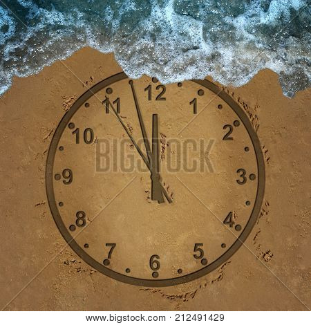 Time loss schedule management lifestyle stress deadline and deadline management for family and a financial date as a clock drawn on sand washed away by waves in a 3D illustration style.