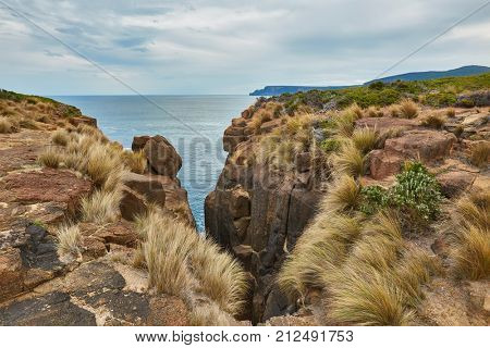 Pristine landscape on Tasman Peninsula, Maingon Blowhole cliffs