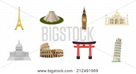 Sights of different countries icons in set collection for design. Famous building vector symbol stock  illustration.