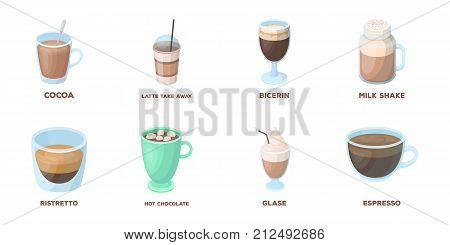 Different kinds of coffee icons in set collection for design. Coffee drink vector symbol stock  illustration.