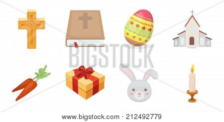 Easter is a Christian holiday icons in set collection for design. Easter attributes vector symbol stock  illustration.
