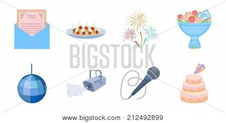 Event Organisation icons in set collection for design.Celebration and Attributes vector symbol stock  illustration.