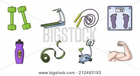 Fitness and attributes icons in set collection for design. Fitness equipment vector symbol stock  illustration.