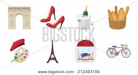 Country France icons in set collection for design. France and landmark vector symbol stock illustration.