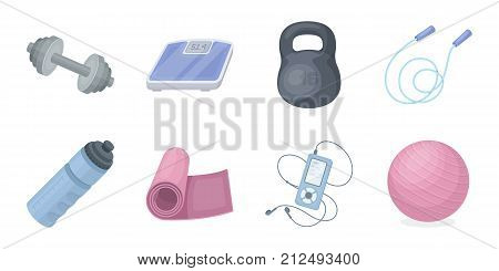 Gym and training icons in set collection for design. Gym and equipment vector symbol stock illustration.